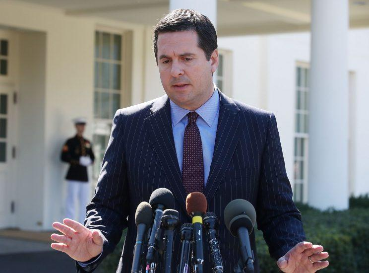 Nunes speaks to reporters after a meeting at the White House on March 22. (Mark Wilson/Getty Images)