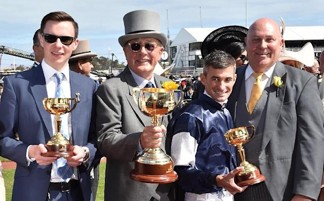 Trainer Joseph O'Brien and his jockey brother Donnacha O'Brien teamed up to win the Irish Derby -- a race Joseph won twice as a jockey -- and deny their father Aidan success as the Australian-owned Latrobe prevailed (AFP Photo/PAUL CROCK)