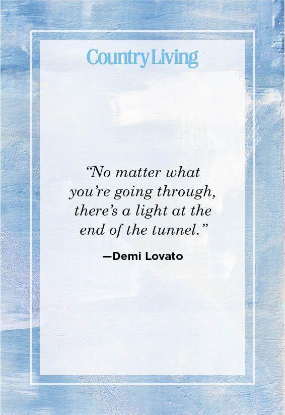 """<p>""""No matter what you're going through, there's a light at the end of the tunnel.""""</p>"""