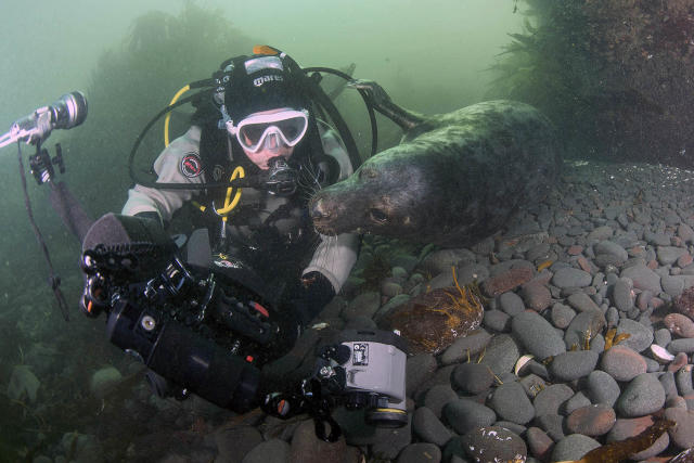 <p>Her partner, Nick Robertson-Brown, 64, managed to capture their tug of war on camera. (Photo: Frogfish Photography/Caters News) </p>