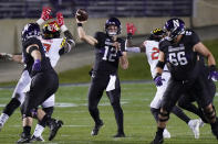 Northwestern quarterback Peyton Ramsey (12) throws a pass against Maryland during the first half of an NCAA college football game in Evanston, Ill., Saturday, Oct. 24, 2020. (AP Photo/Nam Y. Huh)