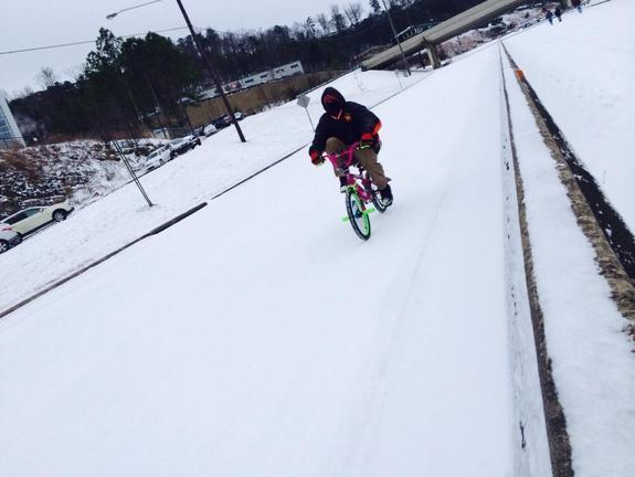 People in Birmingham, Ala., made it home any way they could after a winter storm paralyzed the city on Tuesday.