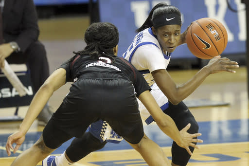 Kentucky's Chasity Patterson, right, is pressured by South Carolina's Destanni Henderson during the first half of an NCAA college basketball game in Lexington, Ky., Sunday, Jan. 10, 2021. (AP Photo/James Crisp)