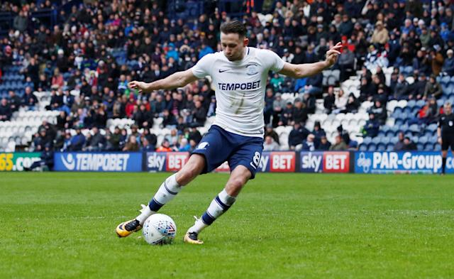 "Soccer Football - Championship - Preston North End vs Derby County - Deepdale, Preston, Britain - April 2, 2018 Preston North End's Alan Browne misses a penalty Action Images/Craig Brough EDITORIAL USE ONLY. No use with unauthorized audio, video, data, fixture lists, club/league logos or ""live"" services. Online in-match use limited to 75 images, no video emulation. No use in betting, games or single club/league/player publications. Please contact your account representative for further details."