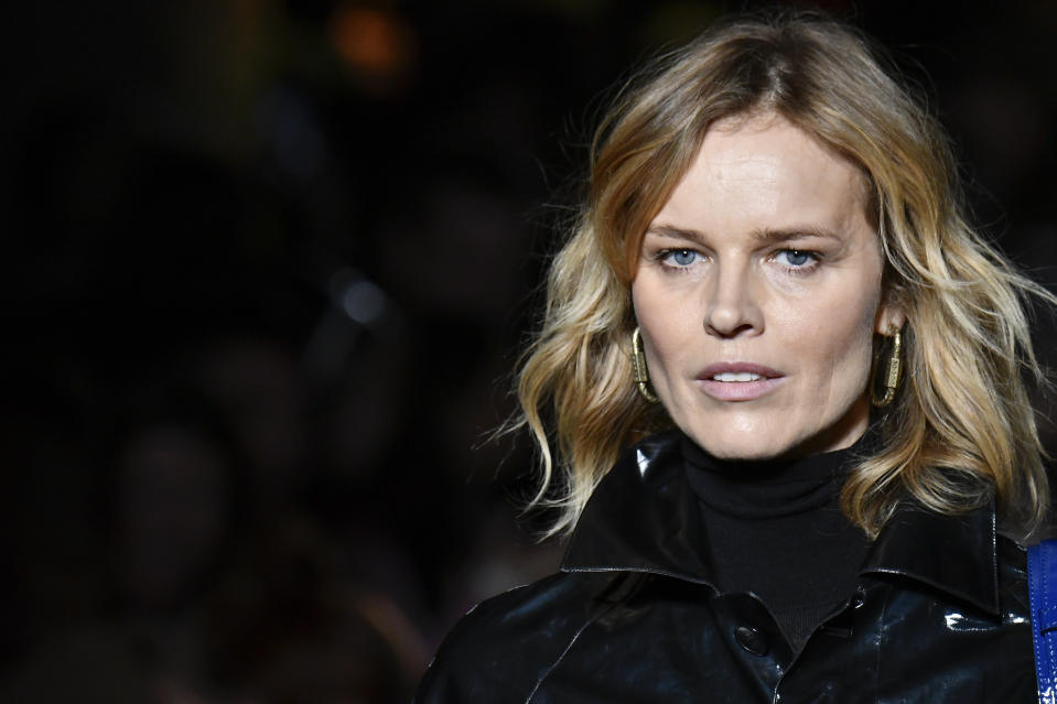 MILAN, ITALY - FEBRUARY 21: Eva Herzigova walks the runway during the Etro fashion show as part of Milan Fashion Week Fall/Winter 2020-2021 on February 21, 2020 in Milan, Italy. (Photo by Victor VIRGILE/Gamma-Rapho via Getty Images)