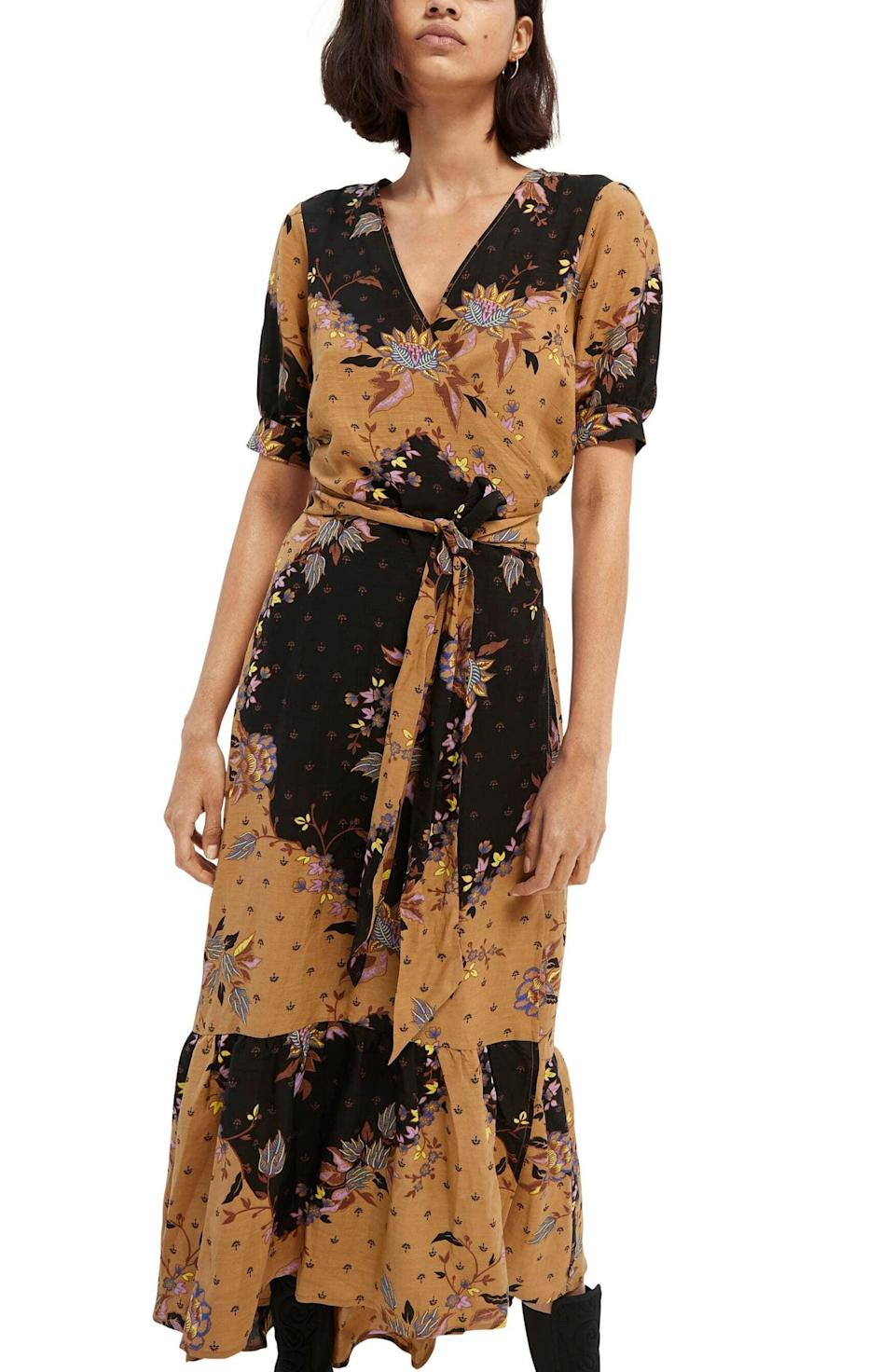 <p>The cut of this <span>Scotch &amp; Soda Floral V-Neck Dress</span> ($258) is quite flattering. Pair it with a black leather jacket.</p>
