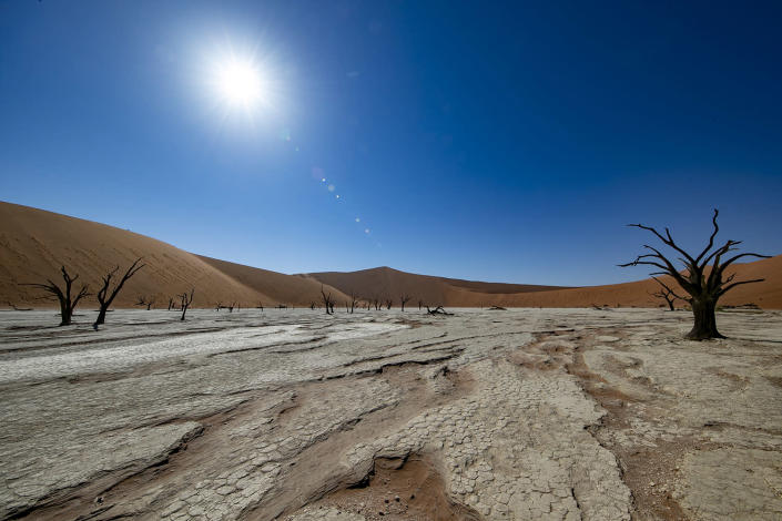 The morning sun starts to heat up the clay and salt pan at Deadvlei in the southern part of the Namib Desert, in the Namib-Naukluft National Park of Namibia. (Photo: Gordon Donovan/Yahoo News)