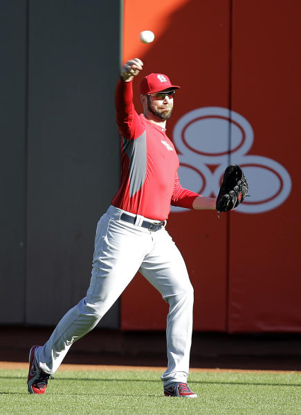 St. Louis Cardinals pitcher Chris Carpenter throws during a workout Saturday, Oct. 20, 2012 in San Francisco. The Cardinals face the San Francisco Giants in Game 6 of the National League championship baseball series Sunda. Carpenter is slated to be the starting pitcher. (AP Photo/Ben Margot)