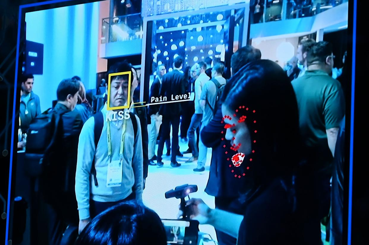 Facial recognition software is demonstrated at the Intel booth at CES 2019 consumer electronics show on Jan.10, 2019 at the Las Vegas Convention Center in Las Vegas. (Robyn Beck / AFP - Getty Images file)