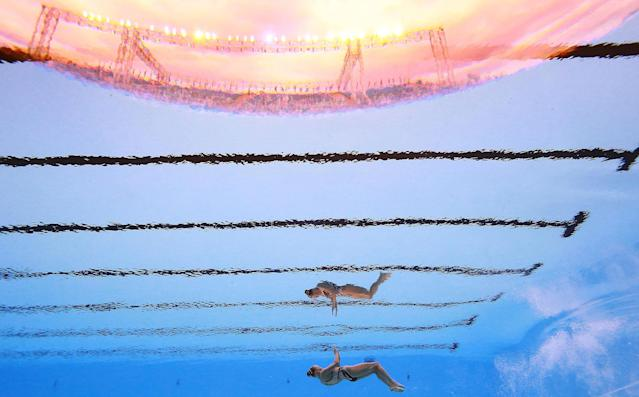 <p>Jacqueline Simoneau of Canada competes in the synchronized Solo Technical Women Preliminary at the 17th FINA World Aquatics Championships in, Budapest, Hungary, July 14, 2017. (Photo: Michael Dalder/Reuters) </p>
