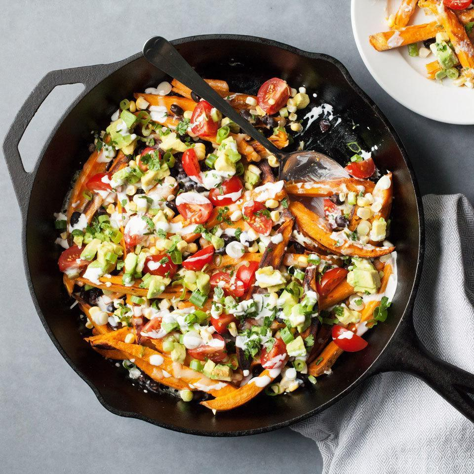 <p>Bump up the vitamin A and fiber when you swap tortilla chips for sweet potatoes in this healthy recipe. Serve as an appetizer at your next party or turn it into dinner by adding chicken, tofu, shrimp or more beans for protein.</p>