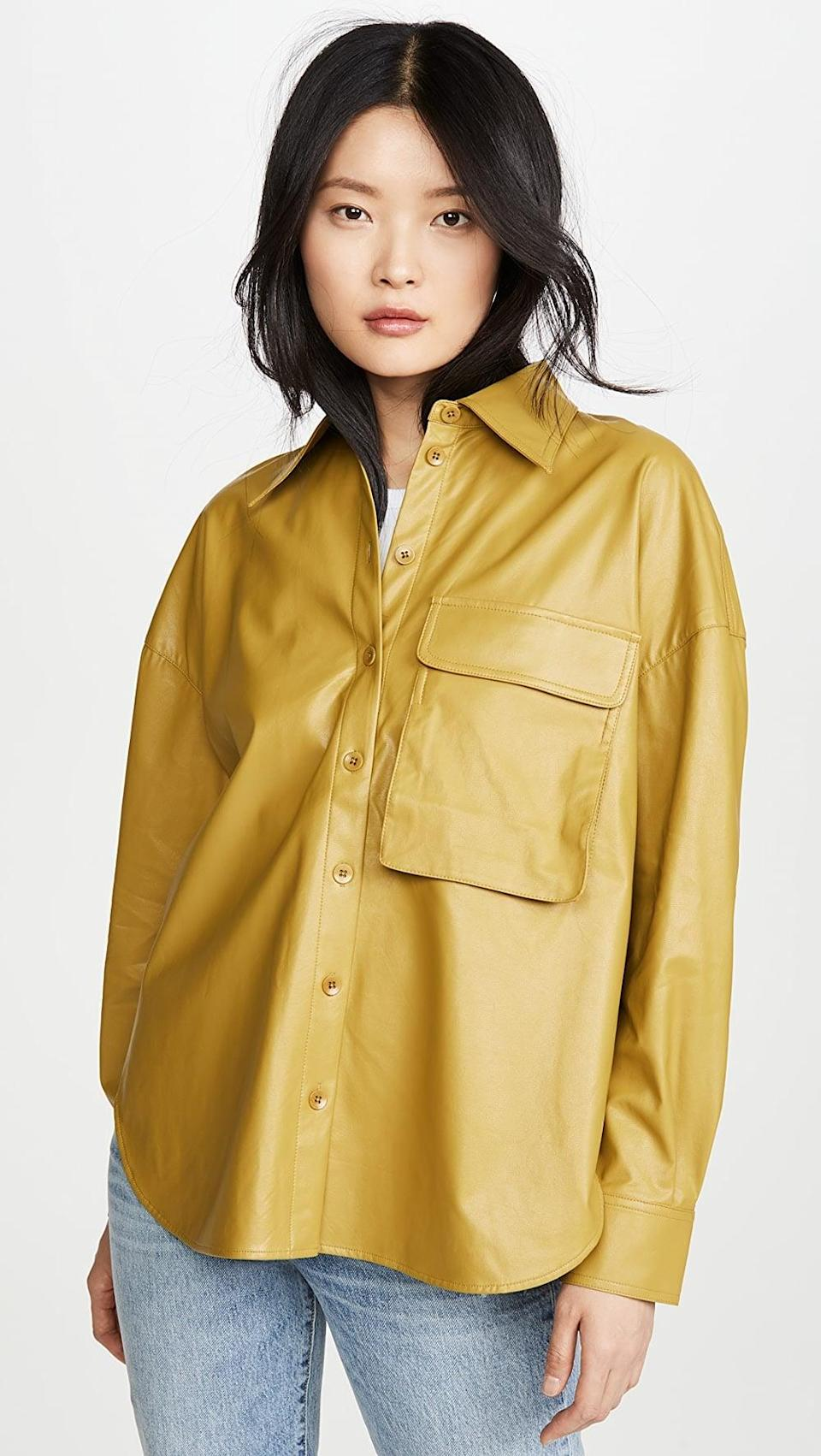 <p>This <span>Tibi Relaxed Faux Leather Utility Shirt</span> ($198, originally $395) pops in a visually pleasing way.</p>
