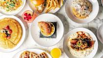 """<p>Opened in August 2020, Breakfast at Barneys has quickly become the talk of the town in and around the Atlanta area. Founded by two Morris Brown alumni friends, the restaurant combines a luxurious atmosphere with the hospitality and comforting meals that only the South can provide. Though there are a <a href=""""https://www.yelp.com/biz/breakfast-at-barneys-atlanta-2"""" rel=""""nofollow noopener"""" target=""""_blank"""" data-ylk=""""slk:number of standout items on the menu,"""" class=""""link rapid-noclick-resp"""">number of standout items on the menu,</a> perhaps the most requested of the lot are the 14 Karat Gold Pancakes, which are made with edible gold, berries, and edible flowers. </p><p><a href=""""https://www.instagram.com/p/CIuSZligCY6/"""" rel=""""nofollow noopener"""" target=""""_blank"""" data-ylk=""""slk:See the original post on Instagram"""" class=""""link rapid-noclick-resp"""">See the original post on Instagram</a></p>"""