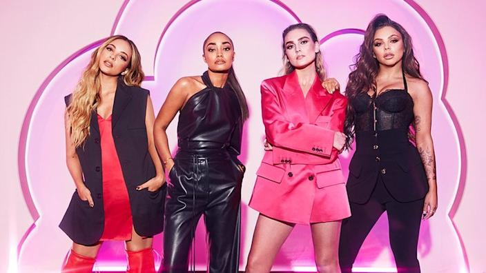 Little Mix on the set of their talent show, The Search (L-R): Jade Thirlswall, Leigh-Anne Pinnock, Perrie Edwards and Jesy Nelson