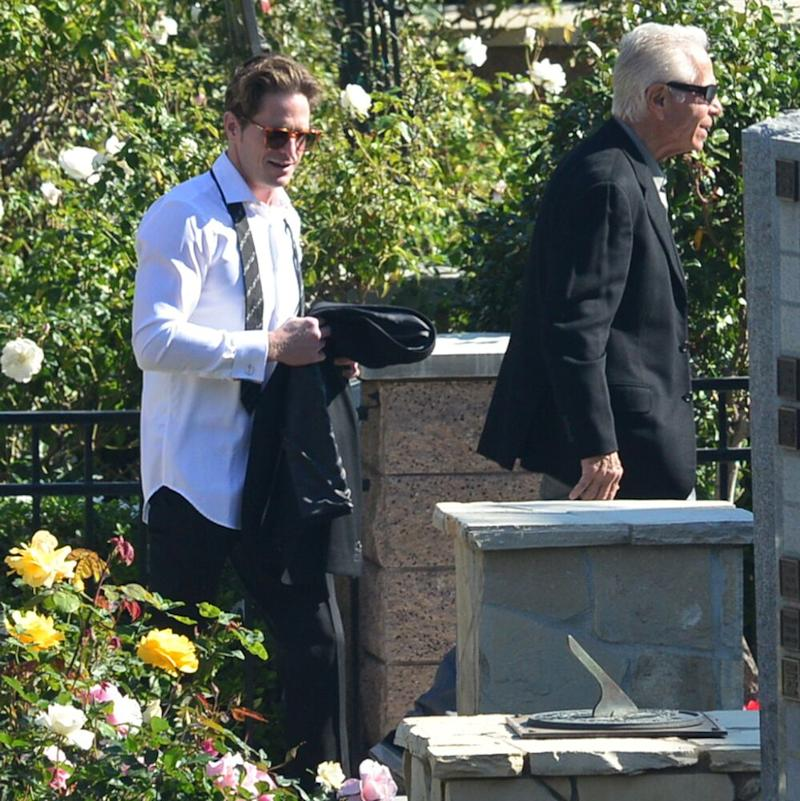 Cameron Douglas arriving at the funeral of his grandfather, Kirk