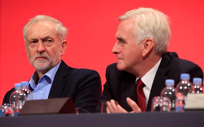 Labour leader Jeremy Corbyn (left) looks toward shadow chancellor John McDonnell - Credit: PA