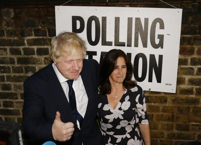 FILE - In this Thursday, June 23, 2016 file photo, British MP Boris Johnson and his wife Marina are photographed as they leave after voting in the EU referendum in London. (AP Photo/Matt Dunham, File)