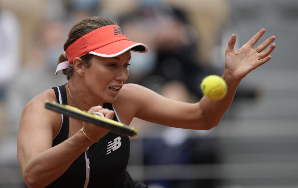 United States's Danielle Collins plays a return to United States Serena Williams during their third round match on day 6, of the French Open tennis tournament at Roland Garros in Paris, France, Friday, June 4, 2021. (AP Photo/Christophe Ena)