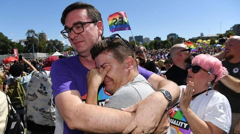 Emotions were high for many at the Sydney results announcement. Source: AAP