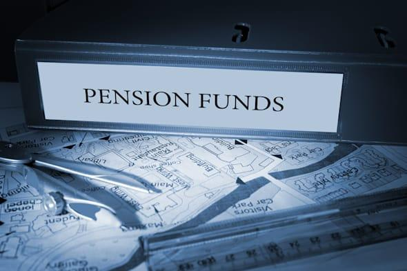 the word pension funds on blue...