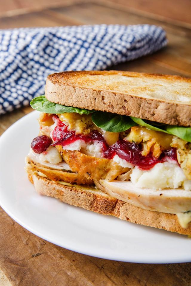 """<p>Customize it to match your leftovers, then kick your feet up and relax. </p><p>Get the recipe from <a href=""""https://www.delish.com/cooking/recipe-ideas/a25103566/thanksgiving-sandwich-recipe/"""" target=""""_blank"""">Delish</a>. </p>"""