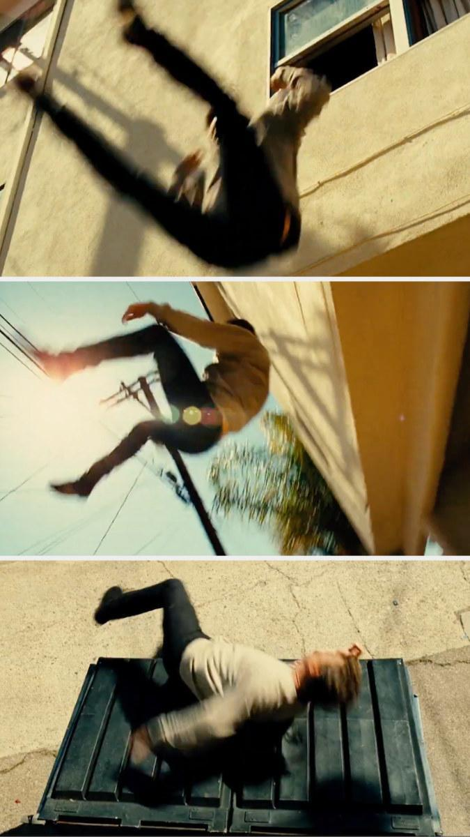 Liam Neeson's character hopping out of a window