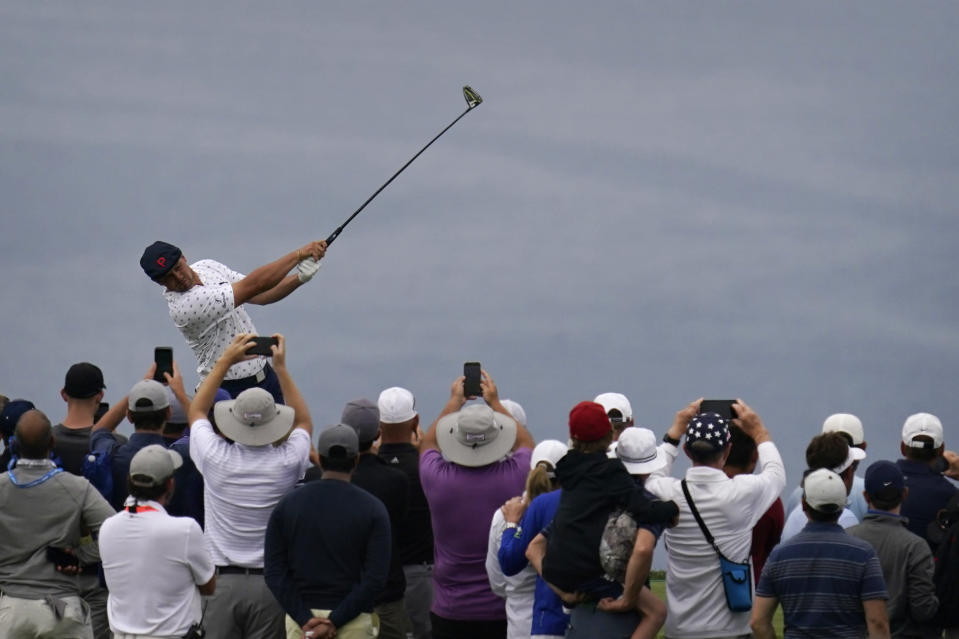 Bryson DeChambeau plays his shot from the fourth tee during the second round of the U.S. Open Golf Championship, Friday, June 18, 2021, at Torrey Pines Golf Course in San Diego. (AP Photo/Gregory Bull)