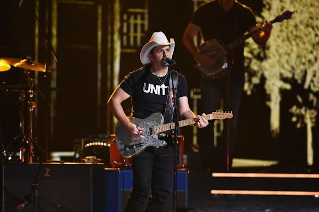 <p>Brad Paisley performs onstage at the 51st annual CMA Awards at the Bridgestone Arena on November 8, 2017 in Nashville, Tennessee. (Photo by John Shearer/WireImage) </p>