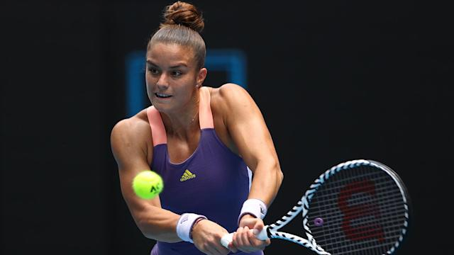 Maria Sakkari saved a match point before reaching the last 16 of the St Petersburg Ladies Trophy along with Elena Rybakina.