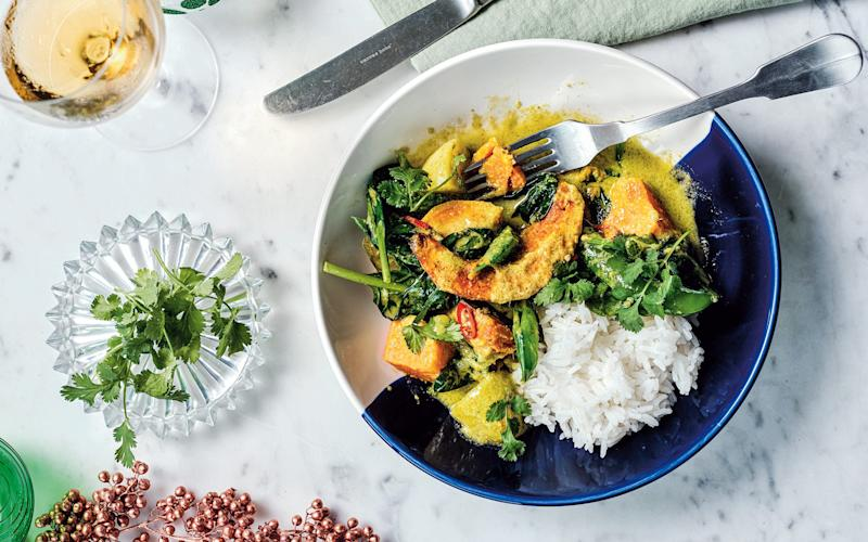 Pumpkin and sweet potato with coconut and greens recipe - No Unauthorized Use