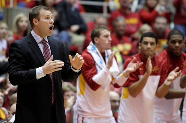 Iowa State coach Fred Hoiberg yells instructions to his team during the first half of an NCAA college basketball game against TCU at Hilton Coliseum in Ames, Iowa, Saturday, Feb. 8, 2014. (AP Photo/Justin Hayworth)