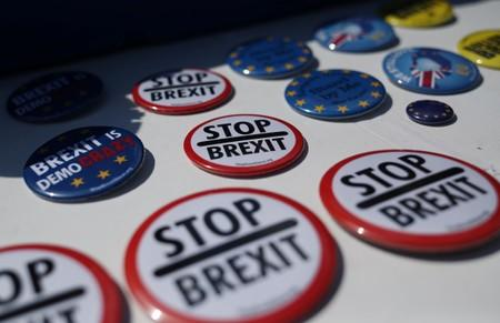 Anti-Brexit badges are seen on display in London