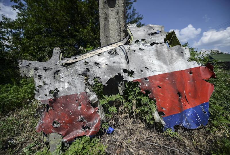 A part of the fuselage of the downed Malaysia Airlines flight MH17 is pictured in a field near the village of Grabove, in the Donetsk region, on July 23, 2014