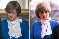 <p><em>The Crown</em> perfectly replicated Princess Diana's look for her engagement portraits with Prince Charles: a blue suit over a blouse featuring a tied neck.</p>