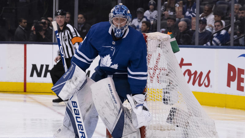 Toronto Maple Leafs goaltender Frederik Andersen did not start the second period against the Florida Panthers after a collision with Frank Vatrano. (Nick Turchiaro-USA TODAY Sports)