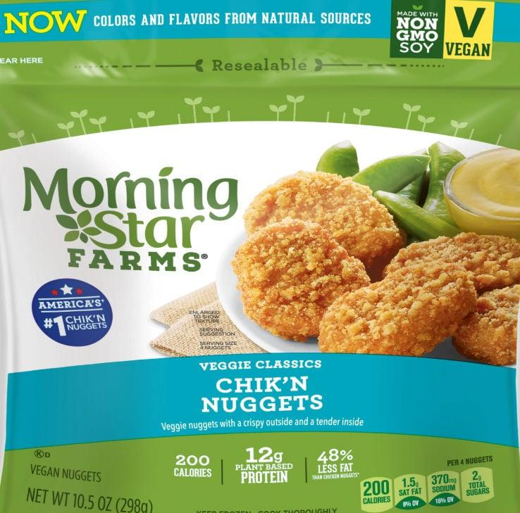 """<p><a href=""""https://www.popsugar.com/buy/MorningStar-Farms-Chikn-Nuggets-488456?p_name=MorningStar%20Farms%20Chik%27n%20Nuggets&retailer=target.com&pid=488456&price=5&evar1=fit%3Auk&evar9=46585944&evar98=https%3A%2F%2Fwww.popsugar.com%2Ffitness%2Fphoto-gallery%2F46585944%2Fimage%2F46586488%2FMorningStar-Farms-Chikn-Nuggets&list1=vegetarian%2Chealthy%20living%2Chealthy%20cooking%20tips%2Chealthy%20eating%20tips&prop13=api&pdata=1"""" rel=""""nofollow"""" data-shoppable-link=""""1"""" target=""""_blank"""" class=""""ga-track"""" data-ga-category=""""Related"""" data-ga-label=""""http://www.target.com/p/morningstar-farms-classic-frozen-veggie-chik-n-nuggets-10-5oz/-/A-14616337?ref=tgt_adv_XS000000&amp;AFID=google_pla_df&amp;fndsrc=tgtao&amp;CPNG=PLA_Grocery%2BShopping_Local&amp;adgroup=SC_Grocery&amp;LID=700000001170770pgs&amp;network=g&amp;device=c&amp;location=9067609&amp;ds_rl=1246978&amp;ds_rl=1247077&amp;ds_rl=1246978&amp;gclid=EAIaIQobChMIgL6X2-i85AIVE5SzCh0G1QveEAQYAiABEgKKdvD_BwE&amp;gclsrc=aw.ds"""" data-ga-action=""""In-Line Links"""">MorningStar Farms Chik'n Nuggets</a> ($5) include this per four-nugget serving:</p> <ul> <li> <strong>Calories:</strong> 200</li> <li> <strong>Total fat: </strong>9 grams</li> <li> <strong>Total carbohydrates:</strong> 20 grams</li> <li> <strong>Dietary fiber:</strong> 3 grams</li> <li> <strong>Sugars:</strong> 2 grams</li> <li> <strong>Protein:</strong> 12 grams</li> </ul> <p>Note: you can buy these in stores like Walmart, Target, and more!</p>"""