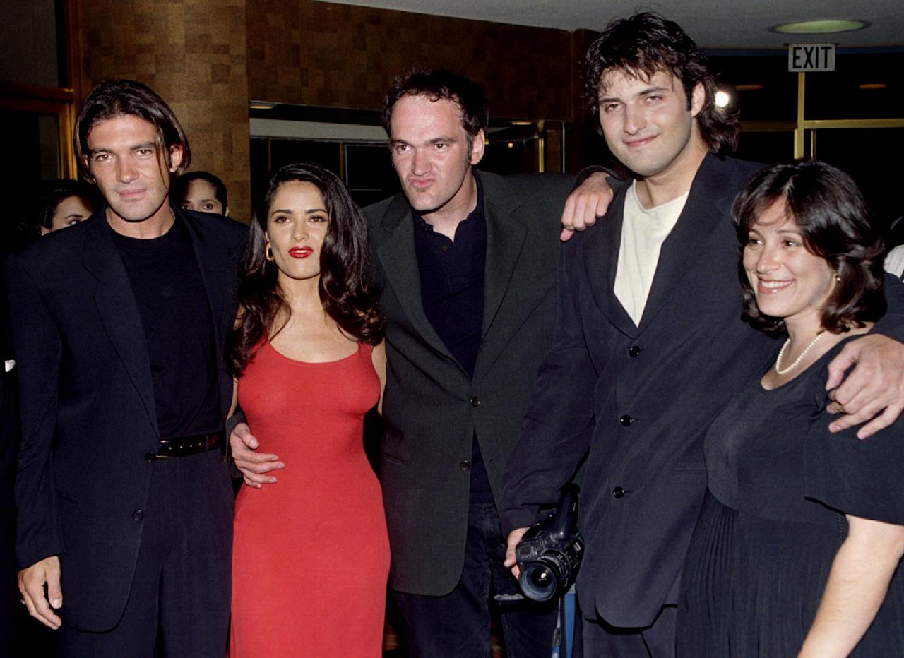 """The stars of the new film """"Desperado"""" pose together at the film's premiere August 21 in Los Angeles. Shown (L-R) are actors Antonio Banderas, Salma Hayek, Quentin Tarantino, director Robert Rodriguez and co-producer Elizabeth Avellan. """"Desperado"""" deals with the underworld of druglords"""