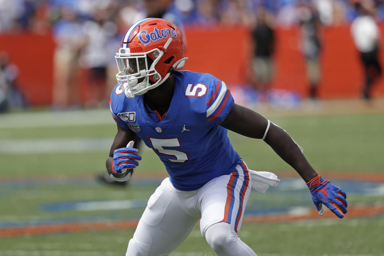 Florida cornerback Kaiir Elam could enter the CB1 discussion in the 2022 NFL draft. (AP Photo/John Raoux)