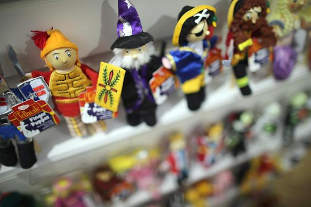 LONDON, ENGLAND - JANUARY 22: Toys are displayed on a trade stand during the 2013 London Toy Fair at Olympia Exhibition Centre on January 22, 2013 in London, England. The annual fair which is organised by the British Toy and Hobby Association, brings together toy manufacturers and retailers from around the world. (Photo by Dan Kitwood/Getty Images)
