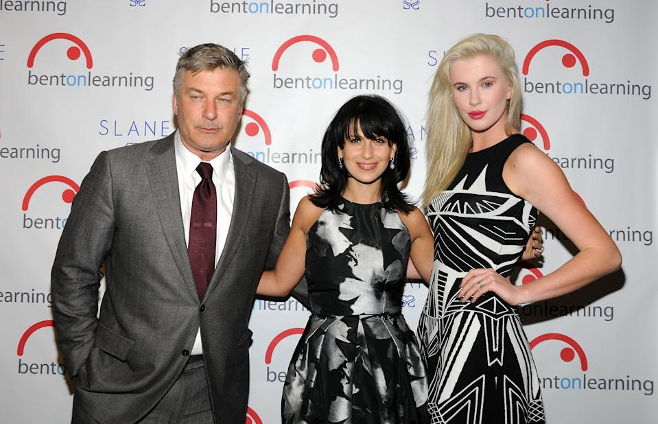 NEW YORK, NY - JANUARY 29:  (L-R) Actor Alec Baldwin, host and wife Hilaria Baldwin, and model Ireland Baldwin attend the 5th Annual Bent On Learning Inspire! Gala at The Prince George Ballroom on January 29, 2014 in New York City.  (Photo by Desiree Navarro/WireImage)