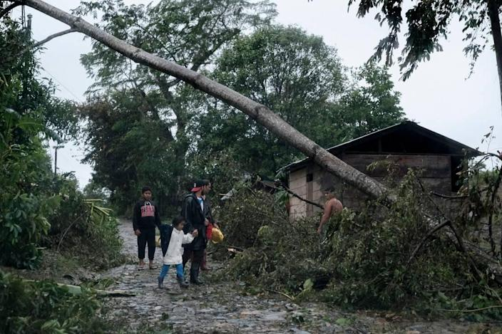 A fallen tree lies on the road after the passage of Hurricane Iota in Siuna, Nicaragua, Tuesday, Nov. 17, 2020. Hurricane Iota tore across Nicaragua on Tuesday, hours after roaring ashore as a Category 4 storm along almost exactly the same stretch of the Caribbean coast that was recently devastated by an equally powerful hurricane.