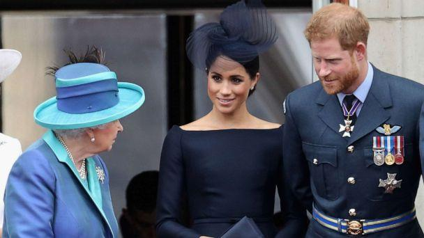 PHOTO: Queen Elizabeth II, Meghan, Duchess of Sussex, Prince Harry, Duke of Sussex watch the RAF flypast on the balcony of Buckingham Palace, as members of the Royal Family attend events to mark the centenary of the RAF on July 10, 2018 in London. (Chris Jackson/Getty Images, FILE)