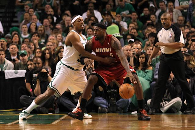 BOSTON, MA - JUNE 07: LeBron James #6 of the Miami Heat posts up in the second quarter against Paul Pierce #34 of the Boston Celtics in Game Six of the Eastern Conference Finals in the 2012 NBA Playoffs on June 7, 2012 at TD Garden in Boston, Massachusetts. NOTE TO USER: User expressly acknowledges and agrees that, by downloading and or using this photograph, User is consenting to the terms and conditions of the Getty Images License Agreement. (Photo by Jim Rogash/Getty Images)