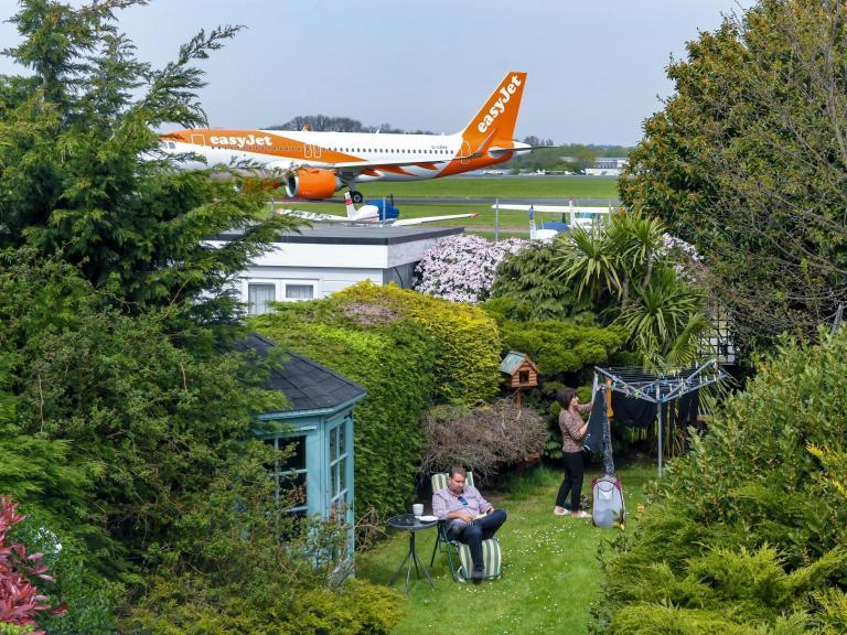 The Southend airport runway that's fringed by gardens