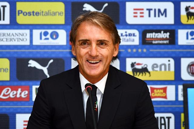 Italy's national football team newly appointed head coach, Roberto Mancini gives a press conference the national team's training centre near Florence (AFP Photo/Carlo BRESSAN)