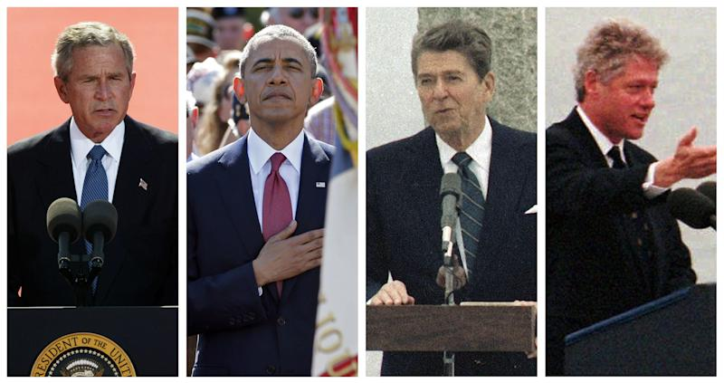 Presidents George W. Bush, Barack Obama, Ronald Reagan speek at D-Day anniversary ceremonies in 2004, 2014, 1984 and 1994.