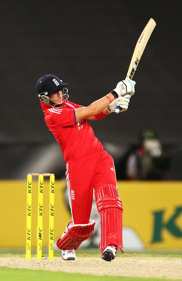 SYDNEY, AUSTRALIA - FEBRUARY 02: Joe Root bats during game three of the International Twenty20 series between Australia and England at ANZ Stadium on February 2, 2014 in Sydney, Australia.  (Photo by Mark Nolan/Getty Images)