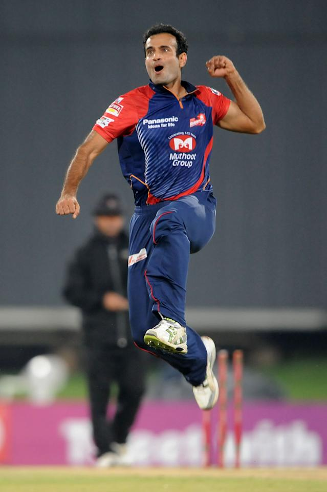 PRETORIA, SOUTH AFRCA - OCTOBER 13:  Irfan Pathan of the Daredevils celebrates capturing the wicket of Manvinder Bisla of the Knight Riders during the Karbonn Smart CLT20 match between Kolkata Knight Riders (IPL) and Delhi Daredevils (IPL) at SuperSport Park on October 13, 2012 in Pretoria, South Africa.  (Photo by Lee Warren/Gallo Images/Getty Images)