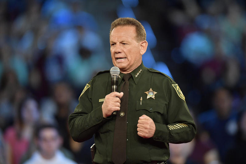 Broward County Sheriff Scott Israel speaks before the start of a CNN town hall meeting on Feb. 21 at the BB&T Center, in Sunrise, Florida. (Sun Sentinel via Getty Images)