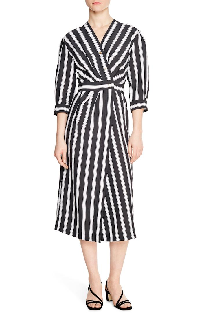 """<br><br><strong>Sandro</strong> Carl Striped 3/4 Sleeve Snap Midi Wrap Dress, $, available at <a href=""""https://go.skimresources.com/?id=30283X879131&url=https%3A%2F%2Fwww.nordstromrack.com%2Fs%2Fsandro-carl-striped-3-4-sleeve-snap-midi-wrap-dress%2Fn3338647%3Fcolor%3DBLACK"""" rel=""""nofollow noopener"""" target=""""_blank"""" data-ylk=""""slk:Nordstrom Rack"""" class=""""link rapid-noclick-resp"""">Nordstrom Rack</a>"""